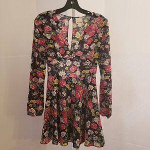 Anthropologie Yaya black floral print dress sz 4